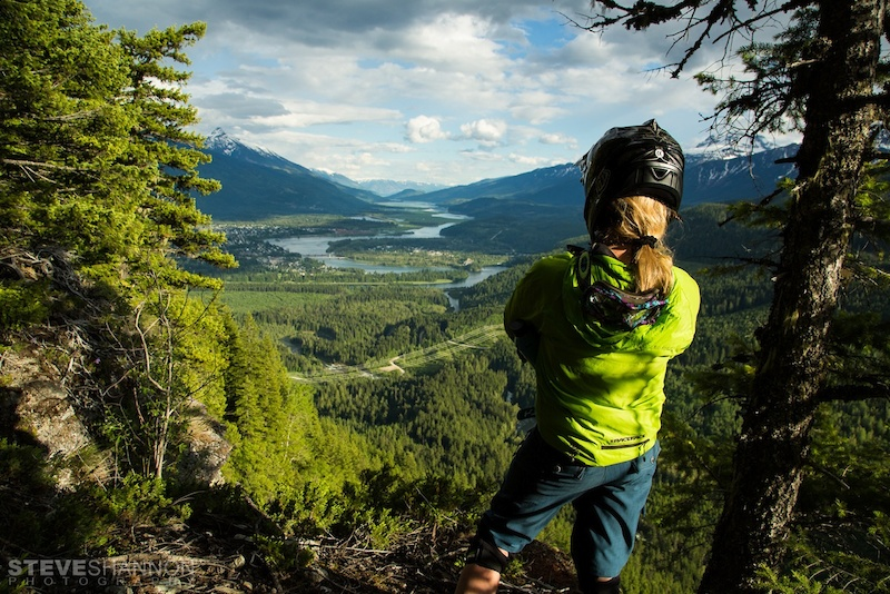 Local pro Lorraine Blancher surveying the beautiful mountain town of Revelstoke BC.