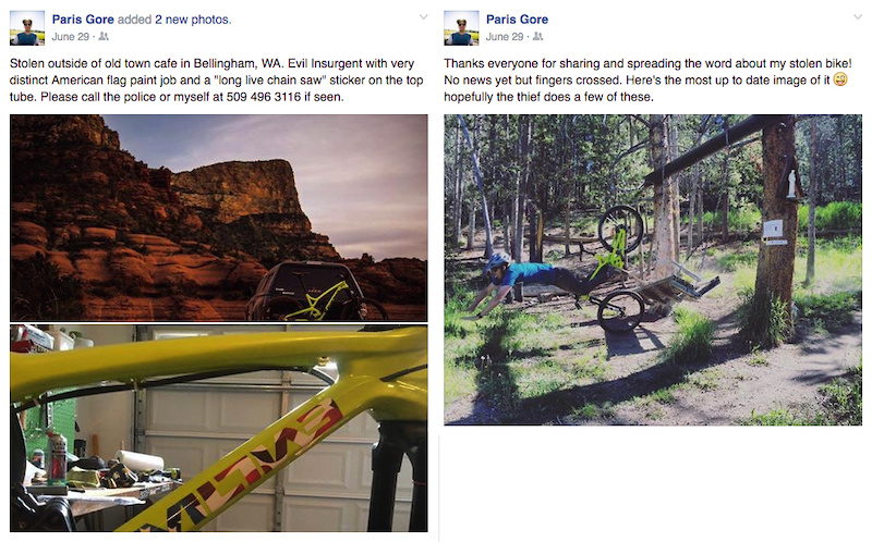 Stolen bike Facebook post.