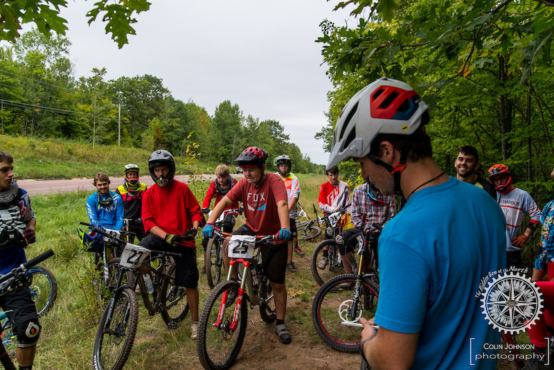 Waiting to drop in for the Downhill race