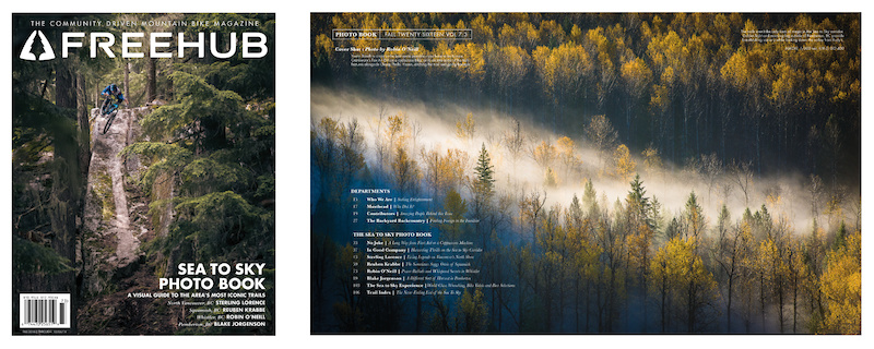 Cover and Table of Contents for Freehub Magazine s Sea to Sky Photo Book. Cover photo by Robin O Neill TOC photo by Blake Jorgenson