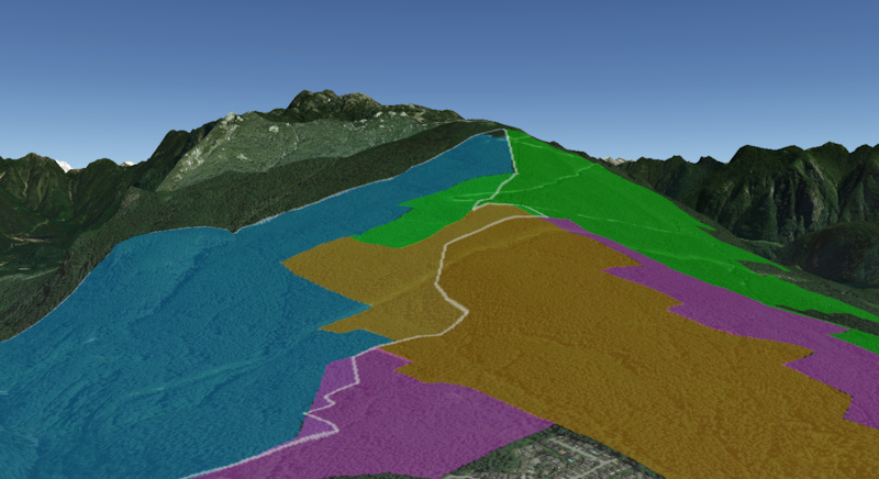 3d representation of the CMHC lands. CMHC in brown