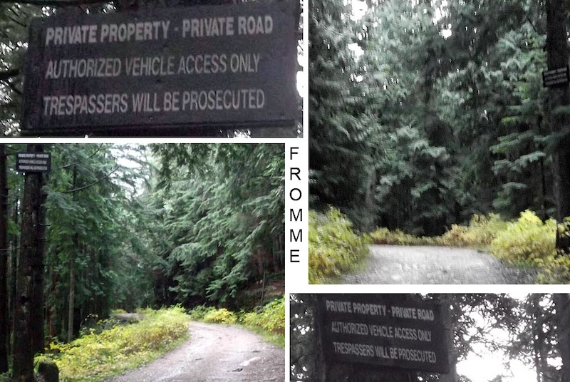 Trespassers will be prosecuted signs on Mountain Highway on Fromme placed by Grouse Mountain. Locations are at AIr Supply between the 5th and 6th switchback and close to the 7th switchback.
