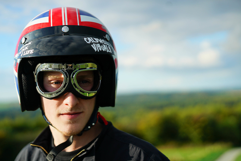 We like to shake things up round these parts. Moped helmet and comedy motorcycle goggles.