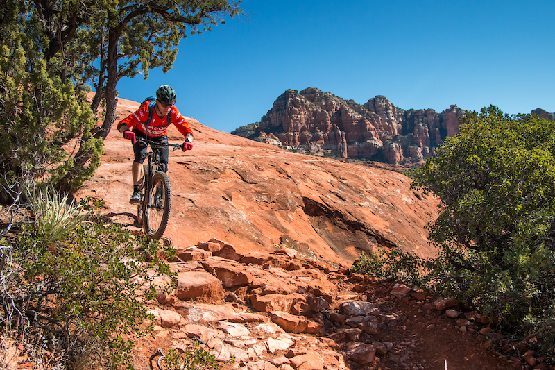 Dropping into the gnarly section at the end of the HiLine Trail.