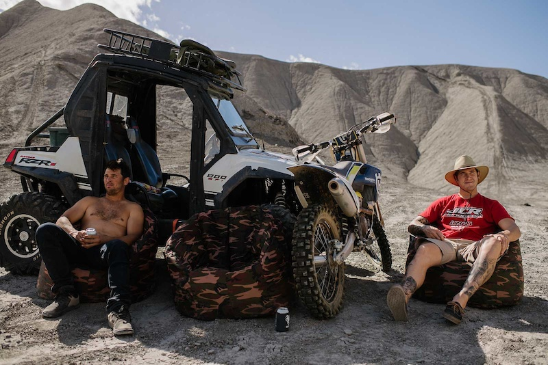 Darren and Ricky taking a break from the desert sun. From Wide Open Episode 1
