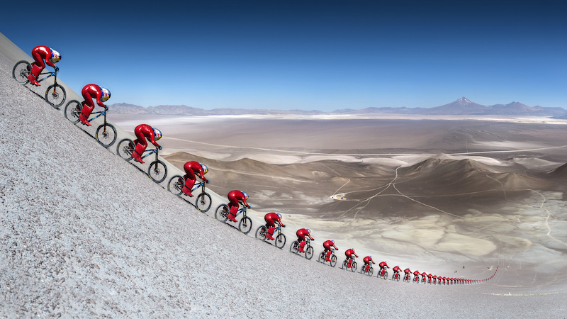 Markus Stoeckl performs during VMax 200 at the Atacama Desert Chile on December 10 2016 Editors Note Pictures is stitched from multiple photos Philip Platzer Red Bull Content Pool P-20170109-00650 Usage for editorial use only Please go to www.redbullcontentpool.com for further information.