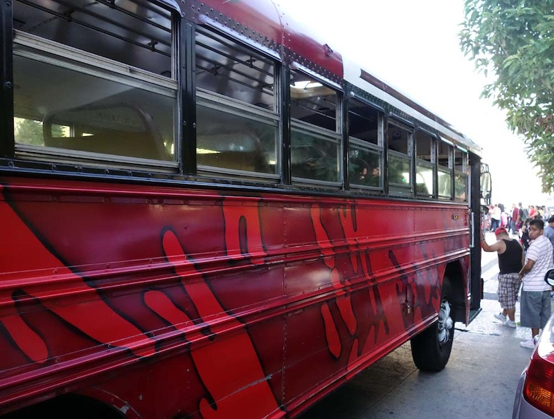 The red buses are according to locals run by drug gangs. Don t take them unless you want to run a high risk of getting mugged and or beaten and or sho