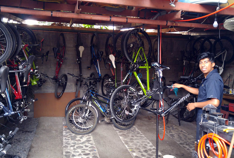 The fully kitted OTO bike shop where our trusty Kona Precepts were stored and made ready