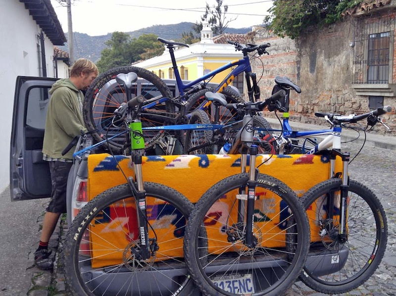 Matt of OTO readying bikes and transport from Antigua to El Zur
