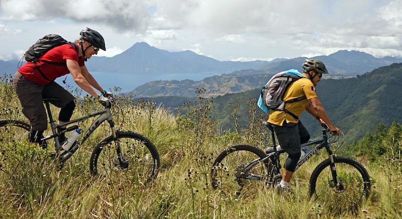 Starting off our ride with Atitlan far below