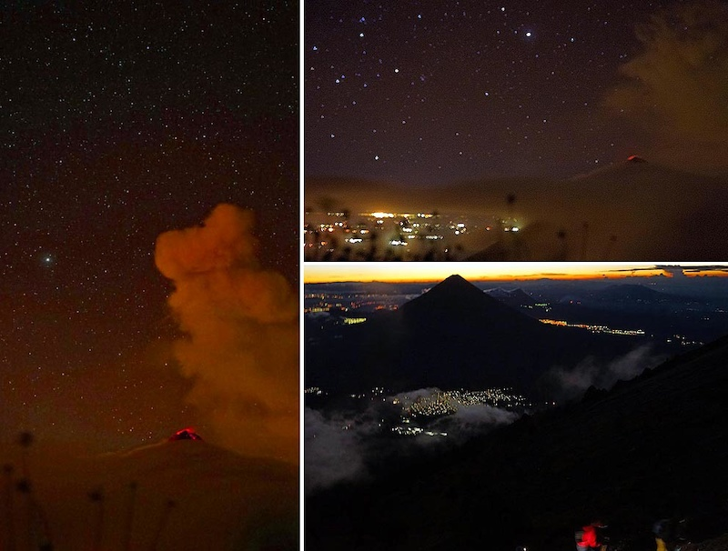Acatenango night-time sky with Fuego erupting and messing up starry sky timelapses. You probably won t have time to soak this up if you do a one-day push