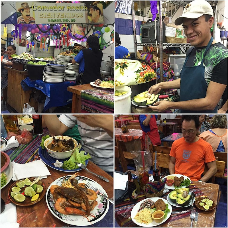 Comida Tipica at Comedor Rosita in the Mercado Central in Ciudad. That seafood dish is HUGE and 30Q. That s 5