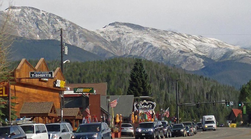 Winter Park Strip with snow blanketing the 13000ft peaks