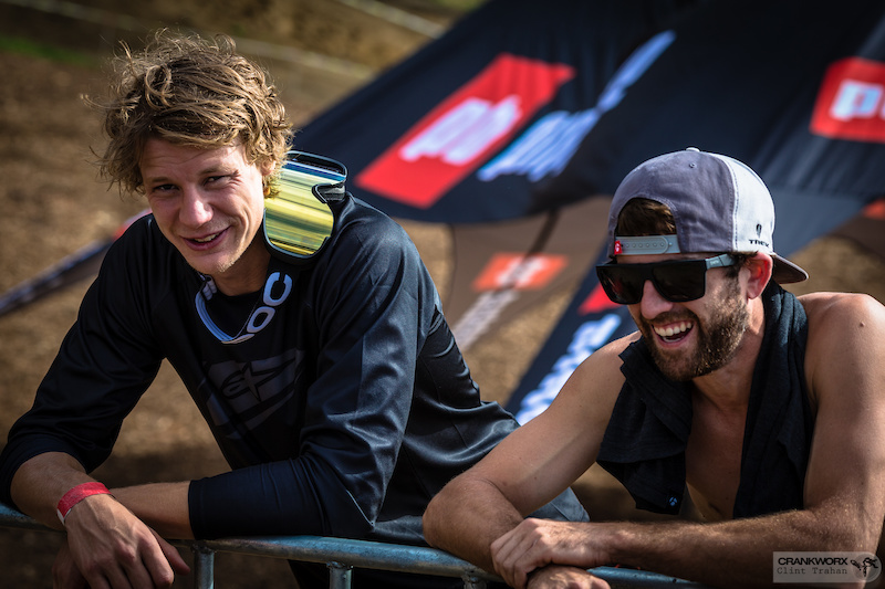 Martin Soderstrom and Ryan Howard catch up before the Mons Royale Dual Speed and Style event at Crankworx Rotorua. Photo by clint trahan Crankworx
