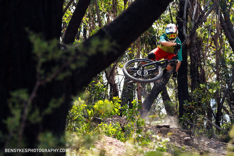 Euro Turndown over a hip jump on a local downhill trail. Published in Revolution MTB Magazine Autumn 2017 issue.