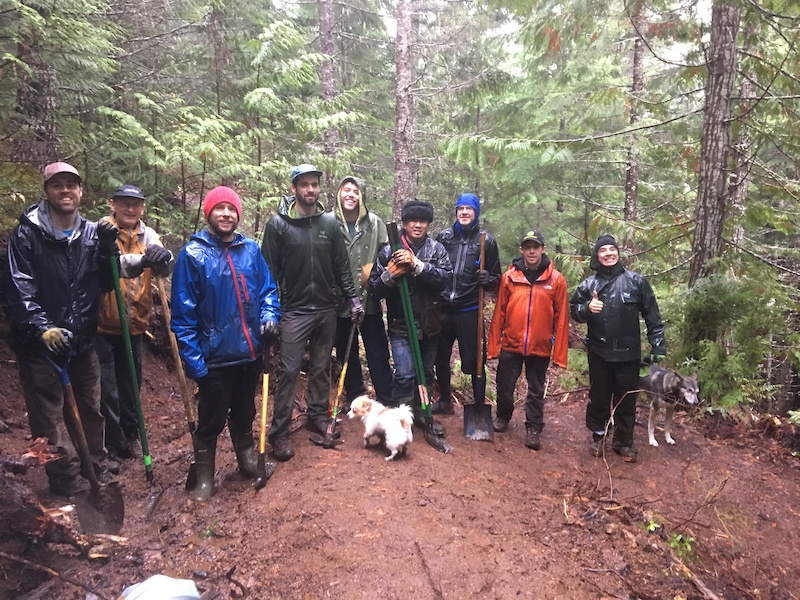 You cannot have a trail day without a little white dog. Squamish got 520mm of rain last November during the build.
