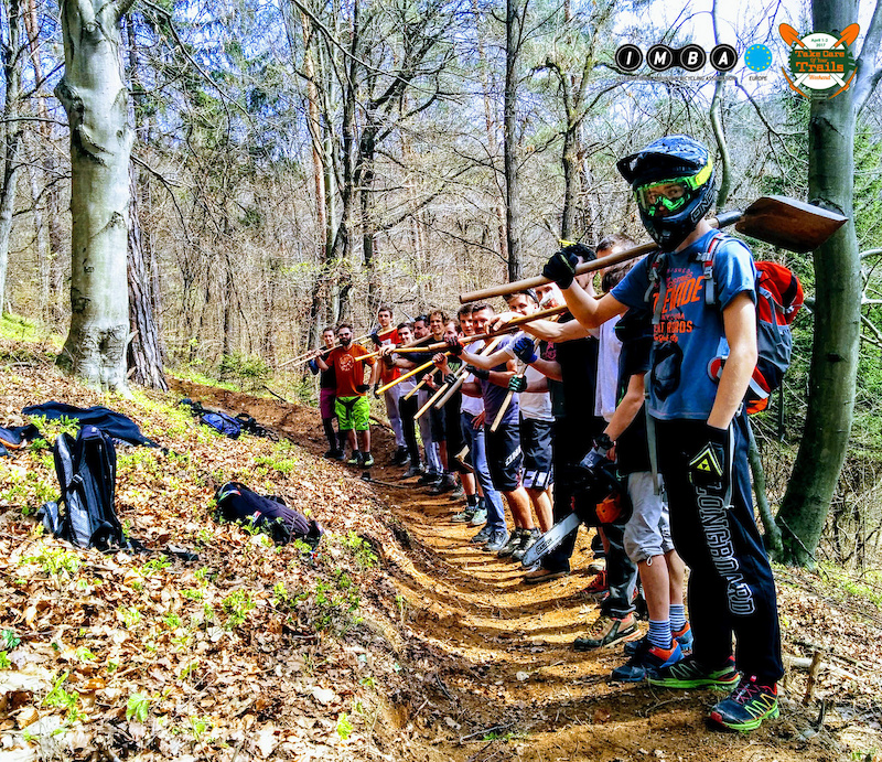 More than 1200 mountain bike volunteers joined nearly 100 groups for the first ever pan-European Take Care of You Trails weekend here we can see the group from Golovec Ljubljana Slovenia .