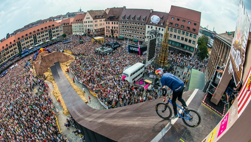 Thomas Genon of Belgium performs during the Red Bull District Ride 2014 in Nuremberg Germany on Saturday September 6th 2014 Marc Muller Red Bull Content Pool P-20140906-00286 Usage for editorial use only Please go to www.redbullcontentpool.com for further information.