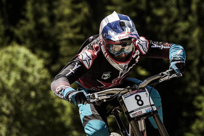 Aaron Gwin performs at UCI DH World Cup in Leogang Austria on June 11th 2017 Bartek Wolinski Red Bull Content Pool P-20170611-01607 Usage for editorial use only Please go to www.redbullcontentpool.com for further information.