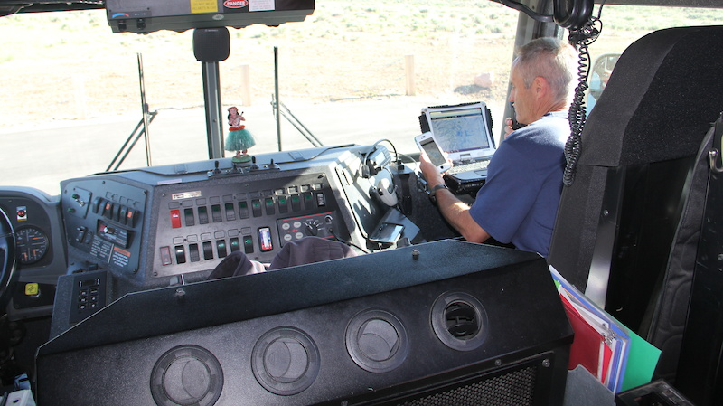 Chris Pendleton riding shotgun in the Fire Truck and guide the driver to injured riders using Trailforks SAR module