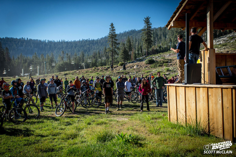 China Peak Enduro race director Nick Cohee and CES director Steve Gemelos share the 411 at the rider meeting race morning.
