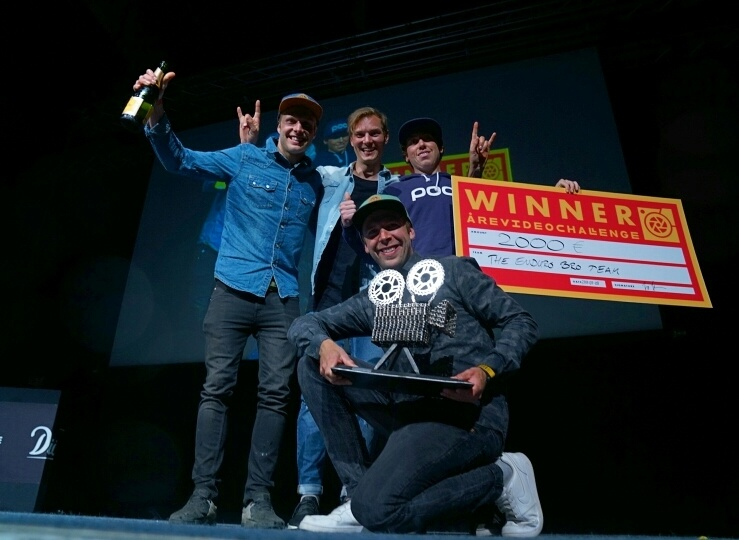 The Enduro Bro Team celebrating their win in the re Video Challenge. From left to right Robin Wallner Zakarias Blom Johansen Niklas Wallner and Dillon Santos.