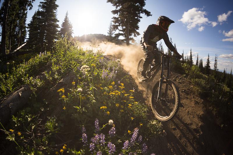 Matt Brooks ripping some late summer turns on Barn Burner. Photo by Riff Stills.