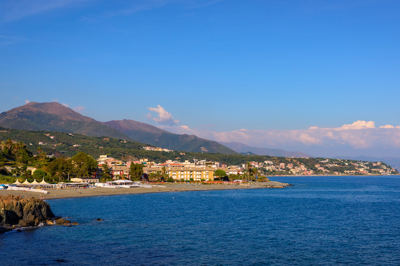 Aerial view of the Ligurian Coast between Varazze and Cogoleto