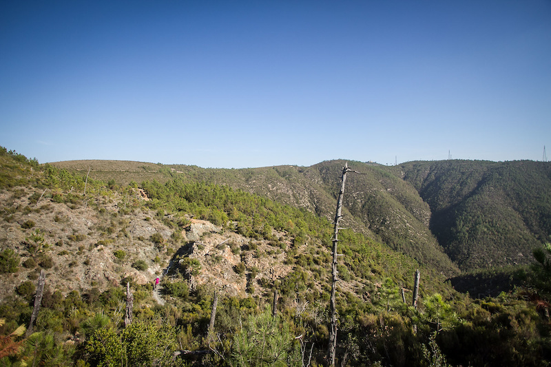 The ridge line that riders climb over on stage 5.