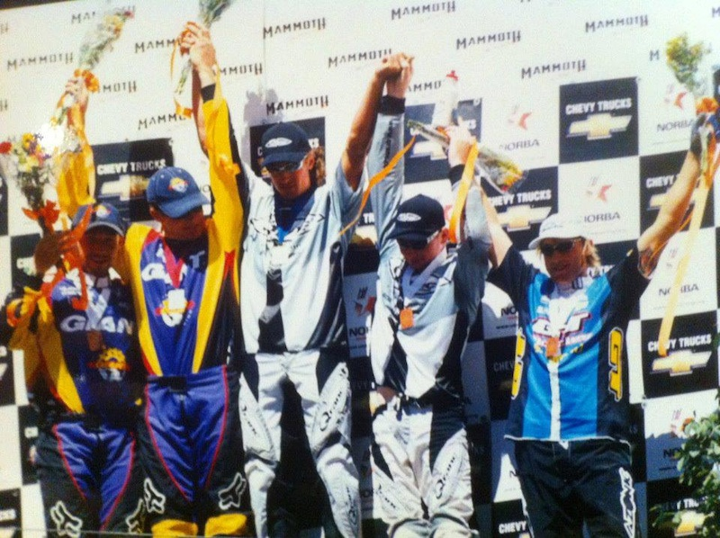 Kovarik, Rockwell, Rennie, Beneke, and Peaty on the podium at a NORBA round in Mammoth during the Qranc/GT days.