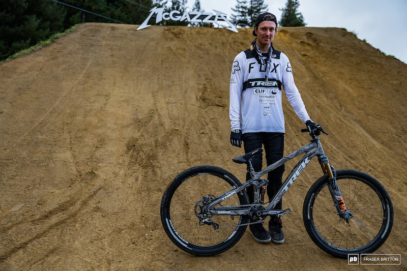 Brett Rheeder and his winning Trek Ticket S slopestyle bike.