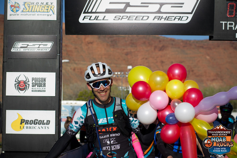 Geoff Kabush celebrates his 41st birthday by winning Stage 1 of 2018 Moab Rocks. Photo Jean McAllister