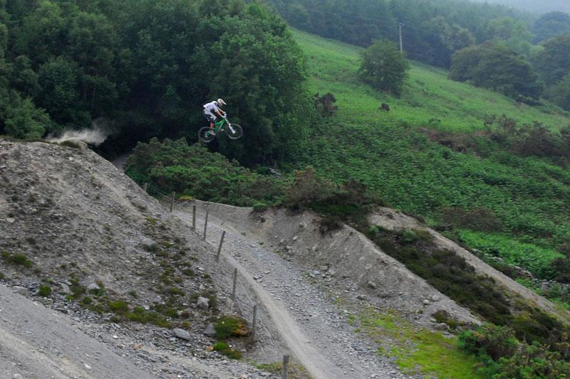 Solid rider Sam Dale pinning the 'Atherton Gap' near Bala on his Mission 9.