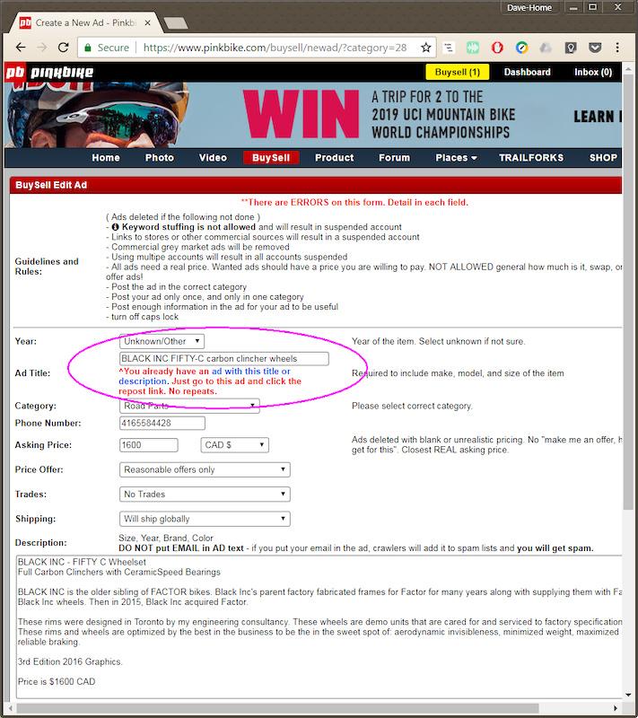 Pinkbike Buy Sell >> Buysell Bug Report False Positive Of Reposting Pinkbike Forum