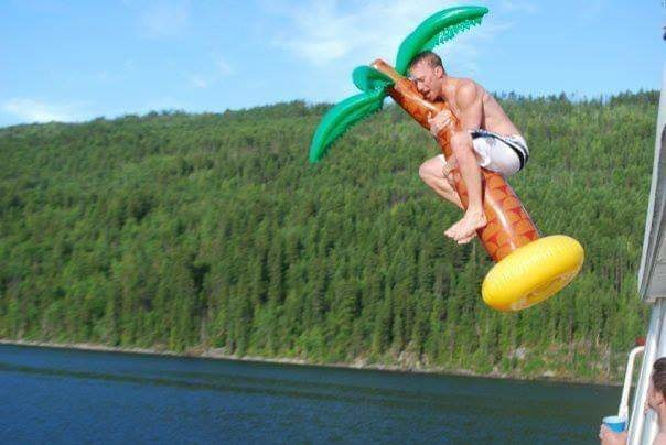 Seymour Arm, Shuswap Lake, off the top of a houseboat, TALL houseboat, inflatable palm tree...youknowit.