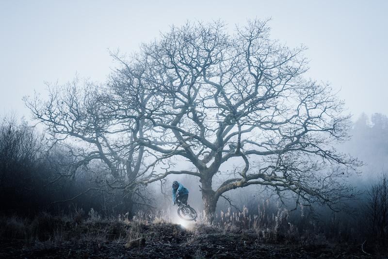 Luke turning a bar through the misty tree