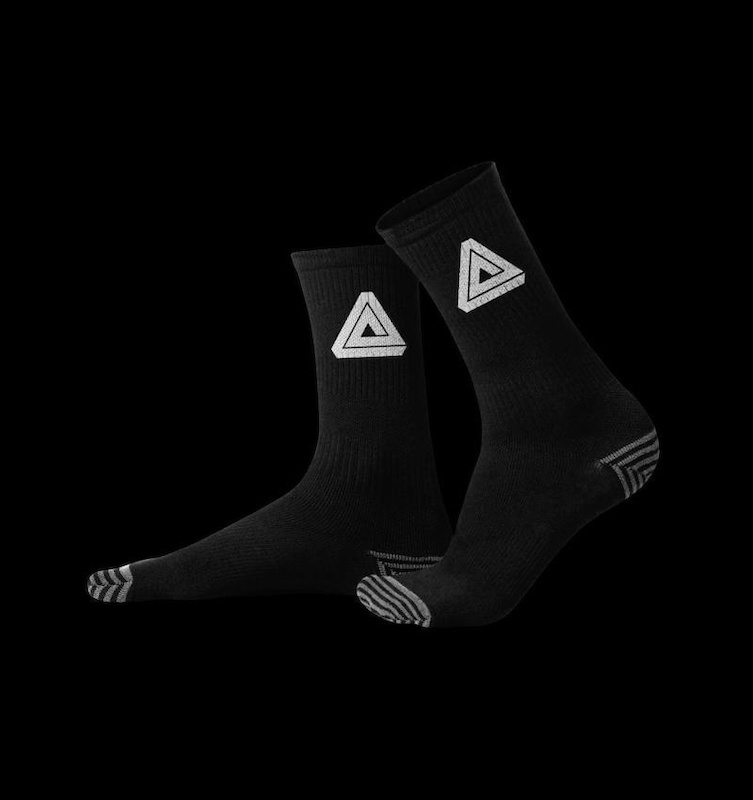 Afton Icon Socks are 80 Acrylic 9 Polyester 8 Nylon and 3 Lycra. That means they are moisture wicking soft and comfortable. With arch support venting reinforced bottoms and a 7.5 cuff they are perfect for cycling or casual wearing.