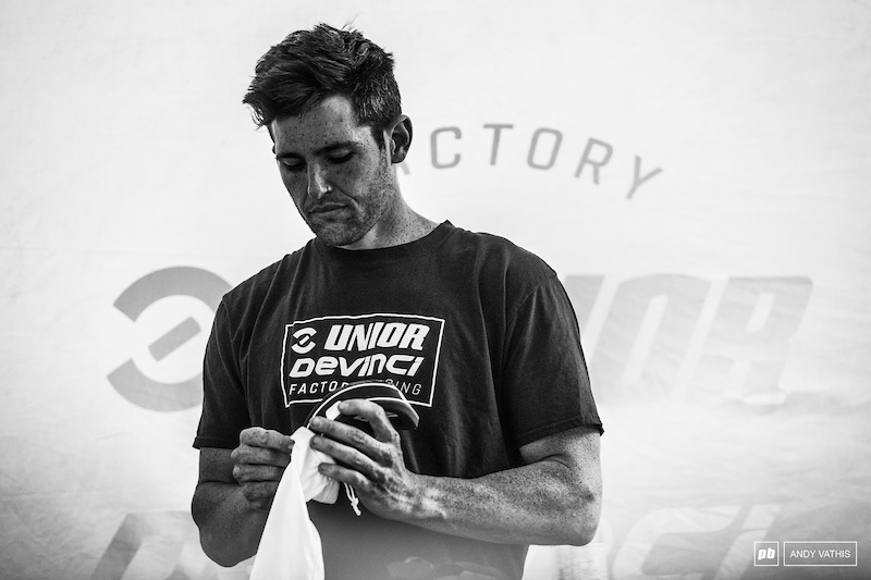 Preparation is just as important as training. Dakotah Norton in the zone, ready for battle.