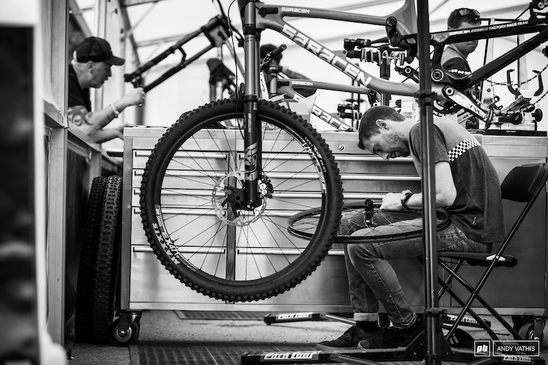 Wheel and bike prep in the Saracen pits before the big show.
