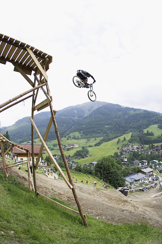 Carlin Dunne Only rider to drop the biggest feature. Saalbach Slopestyle 2005 - Austria Photo by Lucas Kane