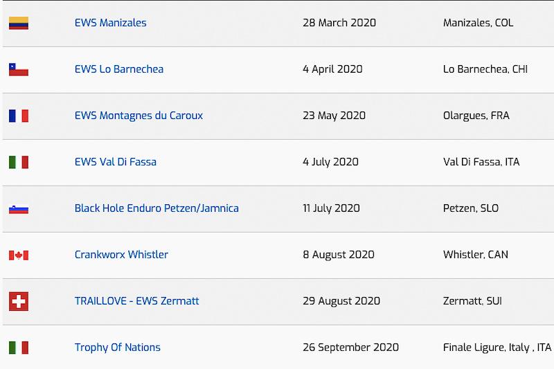 World Calendar.Enduro World Series Announces 2020 Calendar Pinkbike