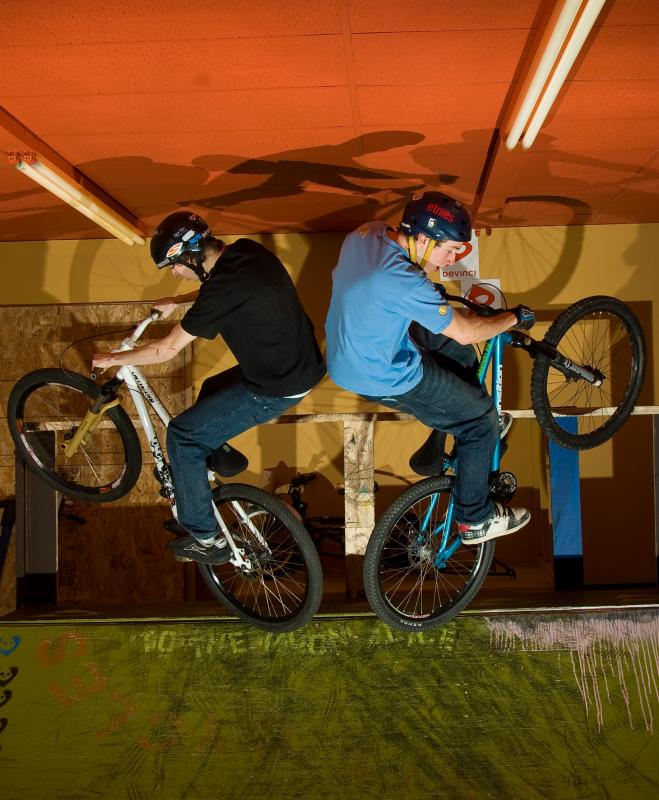 Double fufanu on the ramp at Favorit Cycles!