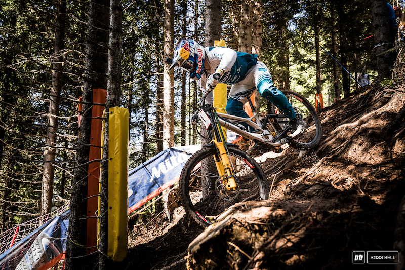 Loic Bruni heads into the steep new section where riders were puzzling over line choice most of the day.