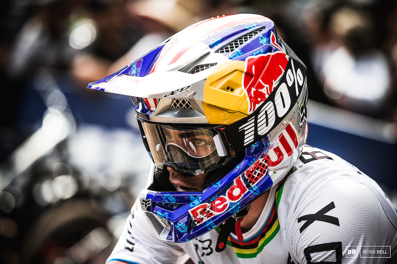 The thousand yard stare from Loic Bruni as he studies Hart's split times.