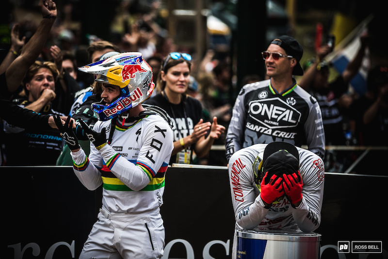 The moment it was all decided. Danny Hart crosses the line and punts Amaury Pierron out of the hot seat meaning Loic Bruni wins the title. You couldn't make it up.