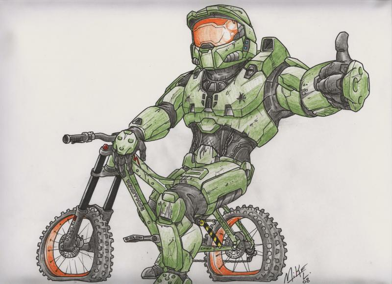 cartoon of master chief on a demo, he's a little heavy