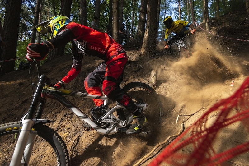 A steep section from Baltic Downhill Cup Stage 1 in Ignalina.