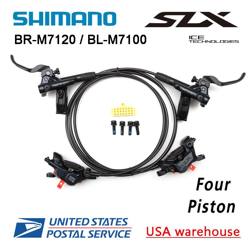 Shimano SLX M7120 4-Piston MTB Hydraulic Disc Brake Set Front Rear RT86 Rotors