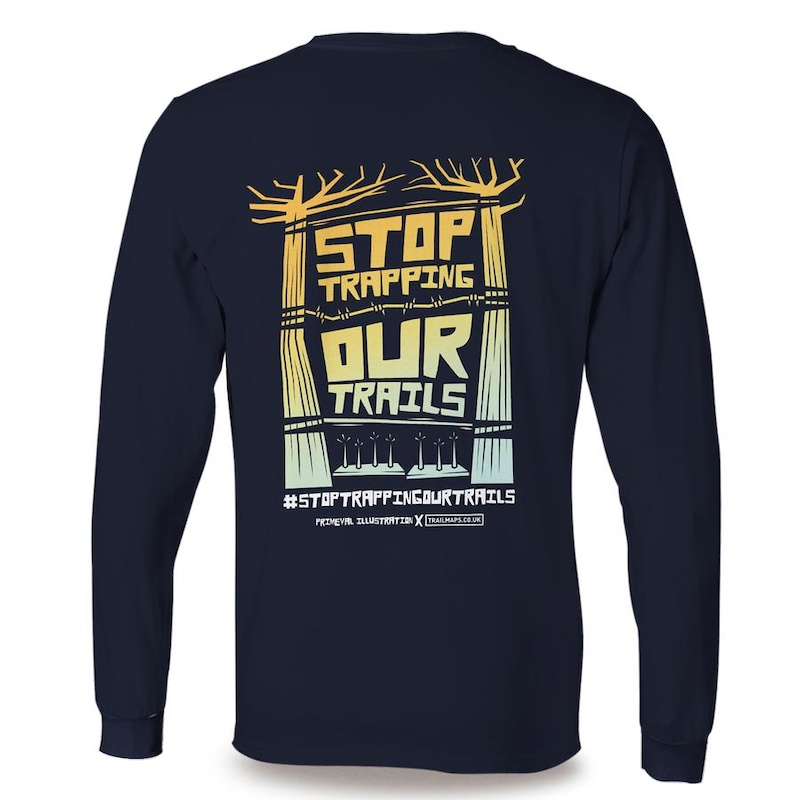 Stop Trapping Our Trails - Navy sweater available at https trailmaps.co.uk collections stop-trapping-our-trails