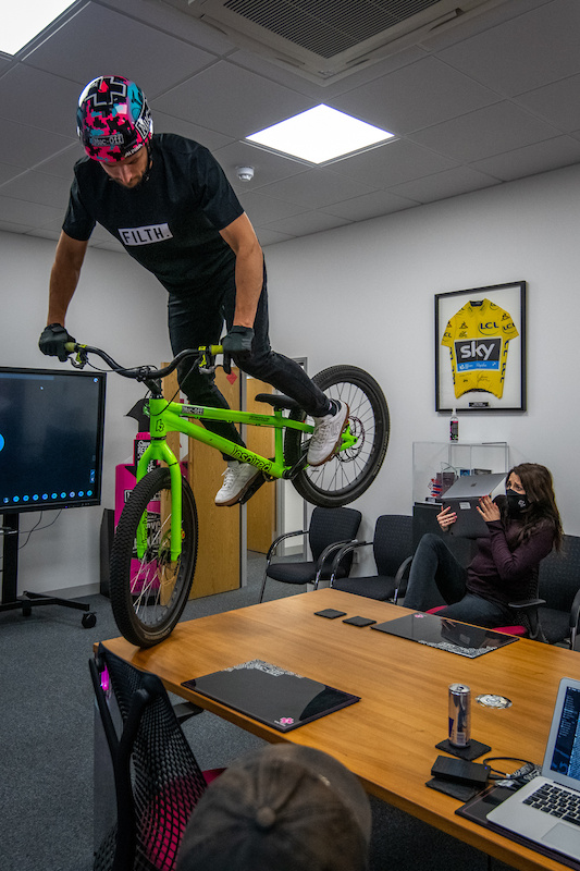 Duncan Shaw rides through Muc-Off HQ